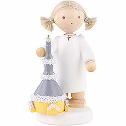 Flax Haired Angel with Church of Seiffen - 5 cm / 2 inch