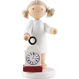 Flax Haired Angel with Clock - 5 cm / 2 inch