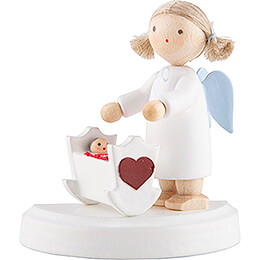 Flax Haired Angel with Cradle - 5 cm / 2 inch