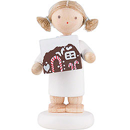 Flax Haired Angel with Gingerbread House - 5 cm / 2 inch