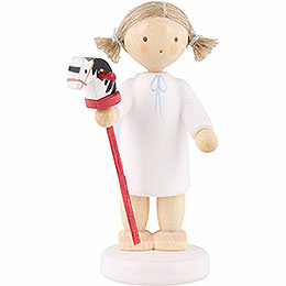 Flax Haired Angel with Hobby Horse - 5 cm / 2 inch