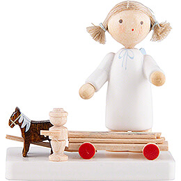 Flax Haired Angel with Horses and Cart - 5 cm / 2 inch