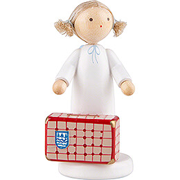 Flax Haired Angel with Large Suitcase - 5 cm / 2 inch