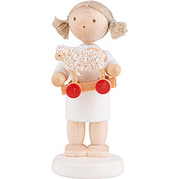 Flax Haired Angel with Little Lamb - 5 cm / 2 inch