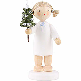 Flax Haired Angel with Little Tree - 5 cm / 2 inch