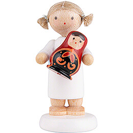 Flax Haired Angel with Russian Matryoshka - 5 cm / 2 inch