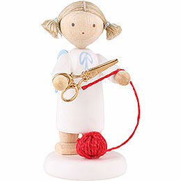 Flax Haired Angel with Scissors and Ball of Wool - 5 cm / 2 inch