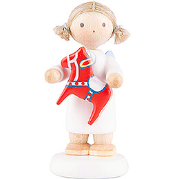 Flax Haired Angel with Swedish Little Horse - 5 cm / 2 inch