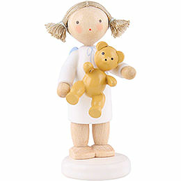 Flax Haired Angel with Teddy Bear - 5 cm / 2 inch