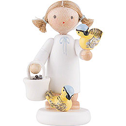 Flax Haired Angel with Titmice - 5 cm / 2 inch
