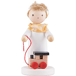 Flax Haired Angel with Toy Locomotive - 5 cm / 2 inch