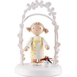Flax Haired Children - Birthday Child with Christmas Flower - 7,5 cm / 3 inch