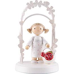 Flax Haired Children - Birthday Child with Mushrooms - 7,5 cm / 3 inch