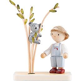 Flax Haired Children Boy with Koala - 5 cm / 2 inch