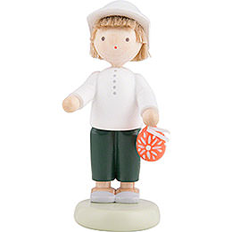 Flax Haired Children Boy with Sorbian Easter Egg - 5 cm / 2 inch