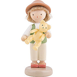 Flax Haired Children Boy with Teddy Bear - 5 cm / 2 inch