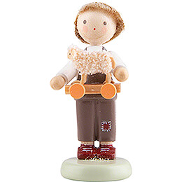 Flax Haired Children Boy with Toy Lamb - 5 cm / 2 inch