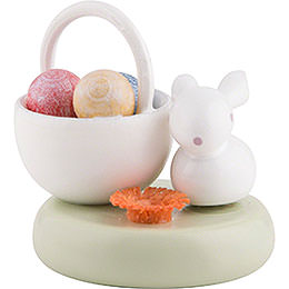 Flax Haired Children Bunny with Egg Basket - 2 cm / 1 inch