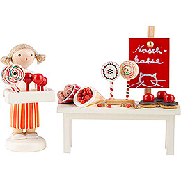Flax Haired Children Fairground Booth with Candy - 5 cm / 2 inch