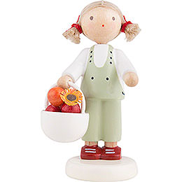 Flax Haired Children Girl with Apple Basket - 5 cm / 2 inch