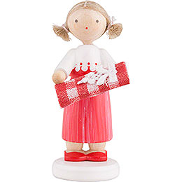 Flax Haired Children Girl with Bolt of Fabric - 5 cm / 2 inch