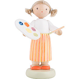 Flax Haired Children Girl with Colour Palette - 5 cm / 2 inch