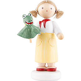 Flax Haired Children Girl with Crocodile - 5 cm / 2 inch