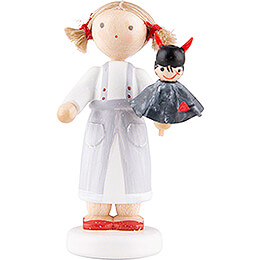 Flax Haired Children Girl with Devil - 5 cm / 2 inch