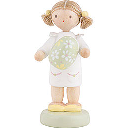 Flax Haired Children Girl with Easter Egg, Green - 5 cm / 2 inch