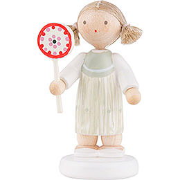Flax Haired Children Girl with Lollipop - 5 cm / 2 inch