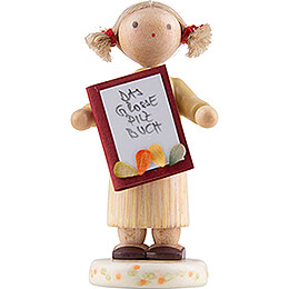 Flax Haired Children Girl with Mushroom Book - Edition Flade & Friends - 4,5 cm / 1.8 inch