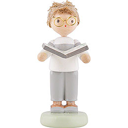 Flax Haired Children Junge with Herbage Book - 5 cm / 2 inch