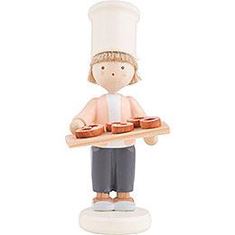 Flax Haired Children Little Baker with Pretzels - 5 cm / 2 inch