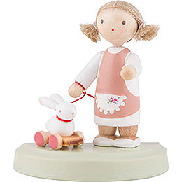 Flax Haired Children Little Girl with Bunny - 5 cm / 2 inch