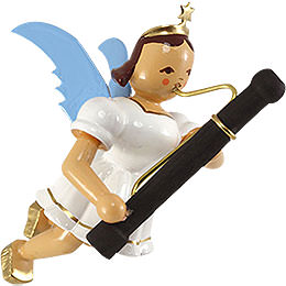 Floating Angel with Basoon, Colored - 9 cm / 3.5 inch
