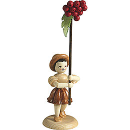 Flower Child with Rowan Berry, Natural - 12 cm / 4.7 inch