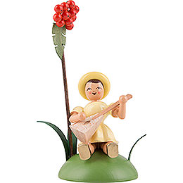 Flower Child with Rowan Berry and Balalaika, Sitting, Colored - 12 cm / 4.7 inch