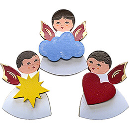 Fridge Magnets - 3 pcs. - Angels with Heart, Star, Cloud - Red Wings - 7,5 cm / 3 inch