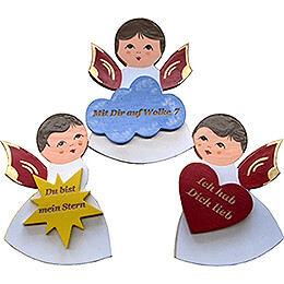 Fridge Magnets - 3 pcs. - Angels with Heart, Star, Cloud - Red Wings - with Messages - 7,5 cm / 3 inch