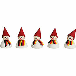 German Fan - Teeter with Scarf, Set of Five - 4 cm / 1.6 inch