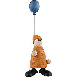 Gratulant Linus mit blauem Luftballon, gelb - 9 cm