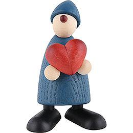 Gratulant Theo mit Herz, blau - 9 cm