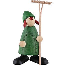 Gratulantin Hanna mit Rechen, grün - 9 cm