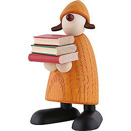 Gratulantin Lilly mit Büchern, gelb - 9 cm