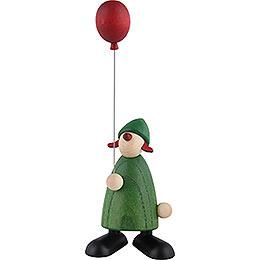 Gratulantin Lina mit rotem Luftballon, grün - 9 cm
