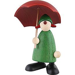 Gratulantin Louise mit Schirm, grün - 9 cm