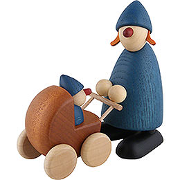 Gratulantin Paula mit Kinderwagen, blau - 9 cm