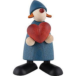 Gratulantin Thea mit Herz, blau - 9 cm