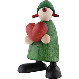 Gratulantin Thea mit Herz, grün - 9 cm