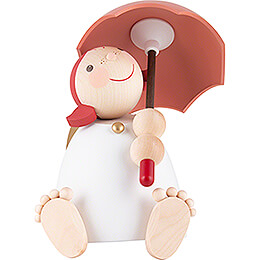 Guardian Angel with Umbrella, Red-Orange - 16 cm / 6.3 cm
